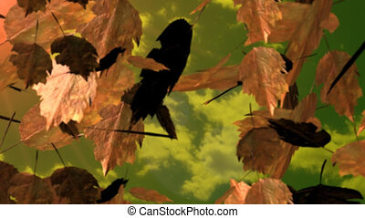 Animatation of green and brown leafs fliying in autumn