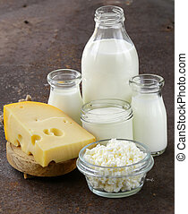 assortment of dairy products milk, cheese, sour cream,...