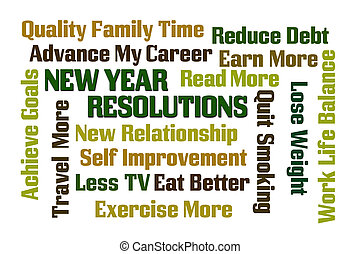 New Year Resolutions word cloud on white background