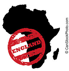 England stamp on Africa map