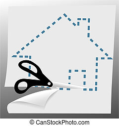 cissors cut out a house symbol on dotted line