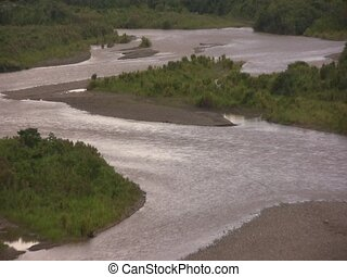 Rio Pastaza, Ecuador - Braided river flowing through lowland...