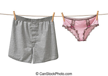 Underwear Hanging on a Clothesline isolated on white...