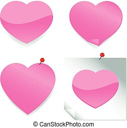 Heart stickers and post it notes - Illustration of a cute...