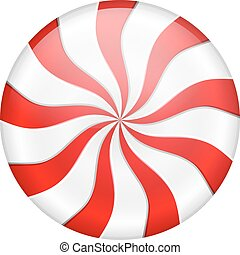 Peppermint Candy - Round peppermint candy on white...