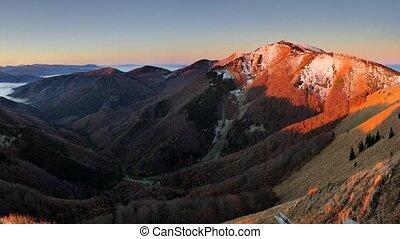 Slovakia mountain peak Osnica at sunrise