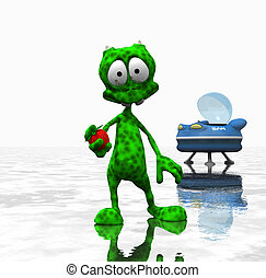 cartoon alien character - 3d render of cartoon alien