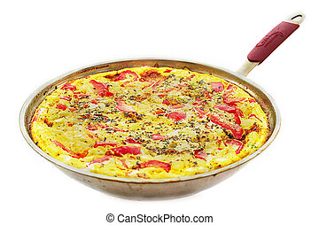 Omelette - Ready omelette with vegetables in a frying pan