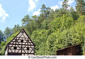 timebered house - a lot of trees and the timbered house