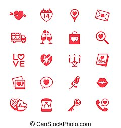 Valentines day flat icons - Simple vector icons Clear and...