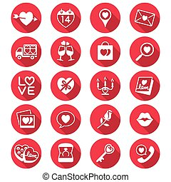 Valentines day flat color icons - Simple vector icons Clear...