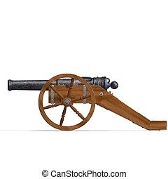 field artillery cannon 3D rendering with clipping path and...