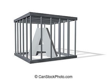 letter a in cage - letter a in a cage on white background -...