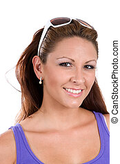 Friendly Woman With Sunglasses - A friendly woman smiles...