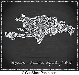 Map of hispaniola as chalkboard  in Black and White