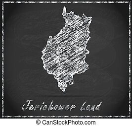 Map of Jerichower-Land as chalkboard in Black and White
