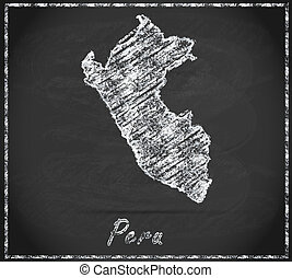 Map of Peru as chalkboard in Black and White