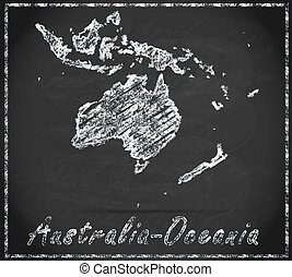 Map of australia-oceania as chalkboard