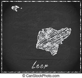 Map of Leer as chalkboard in Black and White