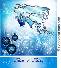 Map of Asia in Christmas Design in blue