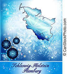 Map of Schleswig-Holstein in Christmas Design in blue