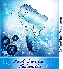 Map of South America in Christmas Design in blue