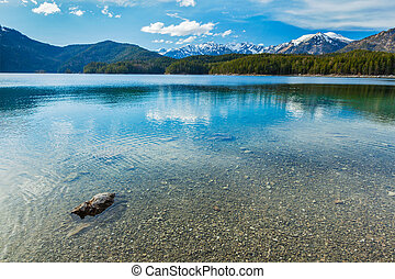 Eibsee lake, Germany - Eibsee mountain lake. Bavarian Alps...