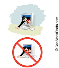 Thief stole information - Vector illustration of a thief...