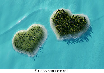 dos corazones - Aerial view of two islands in the shape of...