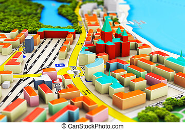 Miniature city - Creative abstract GPS satellite navigation,...