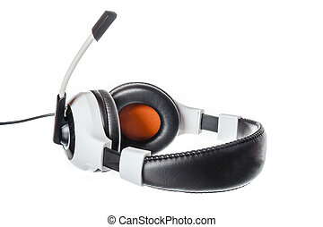 computer headphones with microphone side view isolated on...