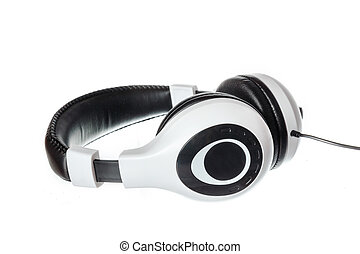 music headphones with side view isolated on white - Black...