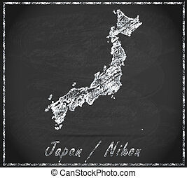 Map of Japan as chalkboard in Black and White