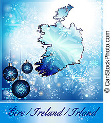 Map of Ireland in Christmas Design in blue