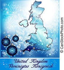 Map of England in Christmas Design in blue