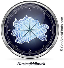 Map of Fuerstenfeldbruck with borders in chrome