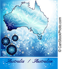 Map of Australia in Christmas Design in blue