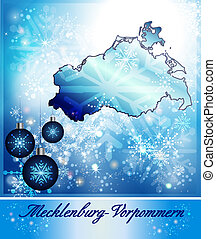 Map of Mecklenburg-Western Pomerania in Christmas Design in...