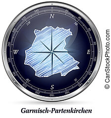 Map of Garmisch-Partenkirchen with borders in chrome