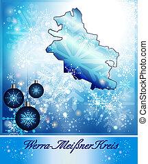 Map of Werra-Meissner-Kreis in Christmas Design in blue