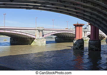 Below Blackfriars Railway Bridge, London - View under the...