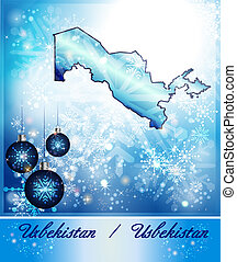 Map of Uzbekistan in Christmas Design in blue