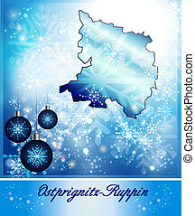 Map of Ostprignitz-Ruppin in Christmas Design in blue
