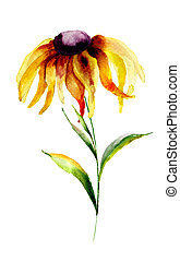 Gerber flower - Yellow Gerbera flower, watercolor...