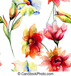 Seamless wallpaper with Colorful flowers, watercolor...