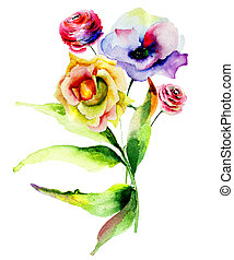 Rose and Poppy flowers - Original watercolor illustration...