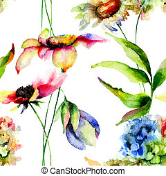 Stylized flowers watercolor illustration, seamless pattern