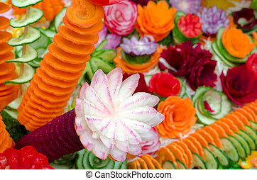 Carving. Raw vegetables cut for decoration