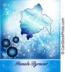 Map of Hameln-Pyrmont in Christmas Design in blue