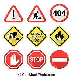 Warning signs - danger, risk